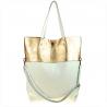 Torba skóra naturalna shopper bag biało złota