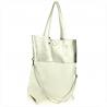 Torba shopper bag biało srebrna skóra naturalna
