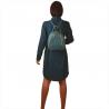Niebieski dżins plecak damski ze skóry naturalnej ze złotymi zamkami