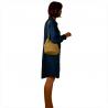 Torebka worek w kolorze beżowym z ćwiekami zamsz naturalny
