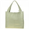 Duża torebka włoska shopper bag popielata skóra naturalna