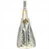 Duża torba pikowana srebrna XL skóra naturalna