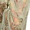Torba worek w kolorze popielatym ze skóry naturalnej XL w kwiatki