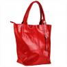Czerwona torebka shopper skórzana z połyskiem XL