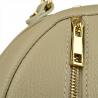 Popielaty plecak damski ze skóry naturalnej ze złotymi zamkami