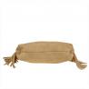 Lekka zamszowa torebka na ramię ozdobnymi frędzlami beżowa