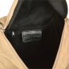 Lekka skórzana listonoszka z szerokim paskiem beżowa zamszowa