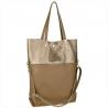 Torba shopper bag taupe złota skóra naturalna