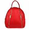 Czerwony plecak damski ze skóry naturalnej ze złotymi zamkami