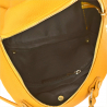Plecak damski ze skóry naturalnej ze złotymi zamkami musztarda