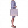 Torebka  shopper bag szary z beżem XL