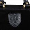 Elegancka skórzana torebka kuferek czarna zamszowa