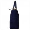 Elegancka skórzana torebka kuferek granatowa zamszowa