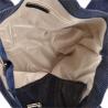 Granatowa torebka shopper skórzana z połyskiem XL