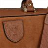 Elegancka skórzana torebka kuferek camel zamsz