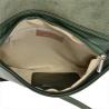 Modna skórzana listonoszka zielona z klapą
