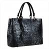 Skórzana torebka shopper czarno srebrna L