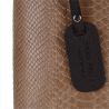 Torebka skórzana kuferek wzór wężowej skóry taupe L