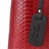 Torebka skórzana kuferek wzór wężowej skóry czerwona