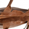 Torebka  skórzana shopper XL z zamkiem połysk  rudy brąz
