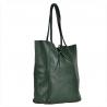 Lekka i pojemna skórzana torebka zielona XL z rzemykami