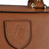 Elegancka skórzana torebka kuferek rudy brąz