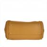 Pojemna torebka skórzana pakowna w kolorze musztardowym