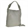 Skórzana torba na ramię-popielata L