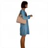 Skórzana torba na ramię róż pudrowy L