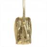 Modna skórzana listonoszka M złota z trzema zamkami