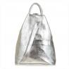 Zgrabny plecak skórzany srebrny lekki