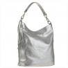 Lekk skórzana torebka shopper bag srebrna