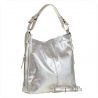 Skórzana torebka na ramię srebrna L