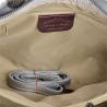 Skórzana torebka shopper kuferek L biała ze srebrnym wzorem