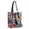 Skórzana torba shopper bag w kwiaty z kosmetyczką XL