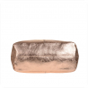 Torebka worek skórzana shopper bag różowe złoto metalik