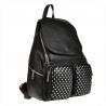 Skórzany plecak czarny z kieszonkami