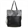 Torba skórzana shopper bag czarno szara
