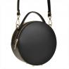 Elegancka skórzana listonoszka okrągła czarna