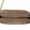 Skórzana listonoszka brązowa taupe zamszowa z dwoma zamkami.