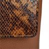 Torebka skórzana brązowa ze wzorem wężowej skóry