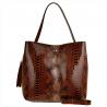 Vezze-torebka brązowa skórzana L wzór wężowej skóry