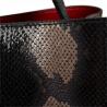 Vezze-torebka czarna skórzana L wzór wężowej skóry