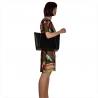 Torebka shopper bag skórzana czarna z zamszowa i ćwiekami
