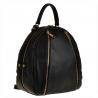 Czarny plecak damski ze skóry naturalnej ze złotymi zamkami