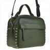 Elegancka torebka listonoszka kuferek oliwkowy z ćwiekami