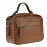 Elegancka torebka listonoszka kuferek brązowy camel z ćwiekami