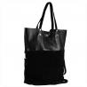Torba skórza zamszowa naturalna shopper bag czarna