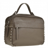 Elegancka torebka listonoszka kuferek taupe,  brąz z ćwiekami